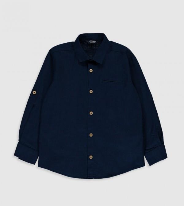 بلوزة منسوجة قميص كم طويل - كحلي