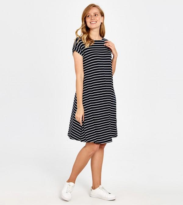 Striped Short Sleeve Standard Short Thin A Form Single Jersey Dress -Blue