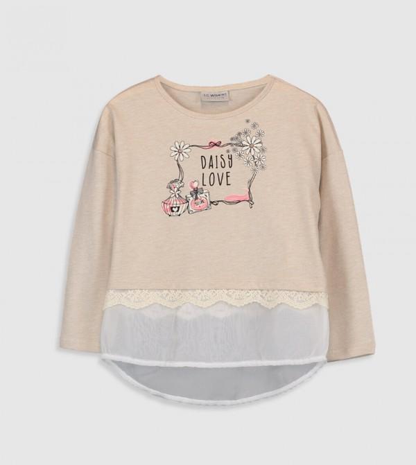 Jersey Body Tshirt Long Sleeves - Ecru Melange