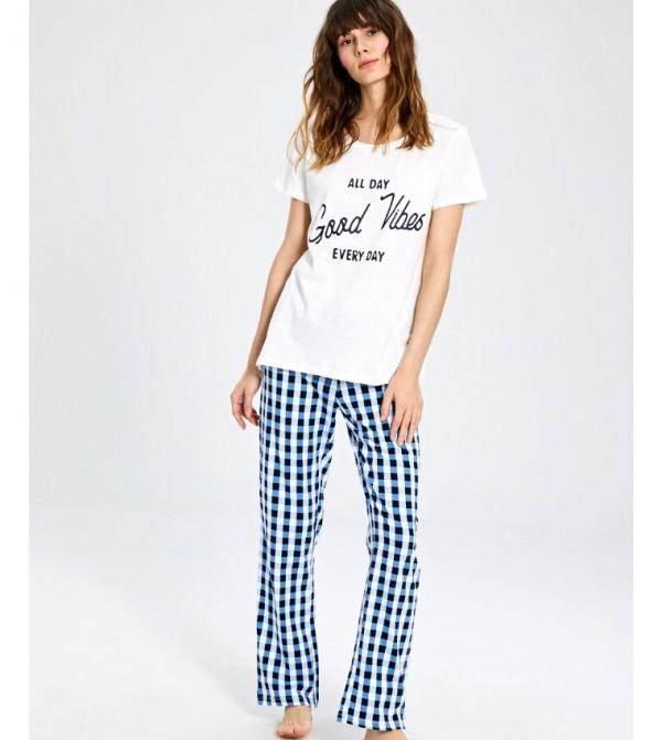 Key Pyjamas Set Short - Navy Printed