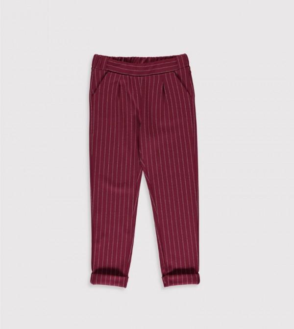 Jersey Trousers - Bordeaux Striped