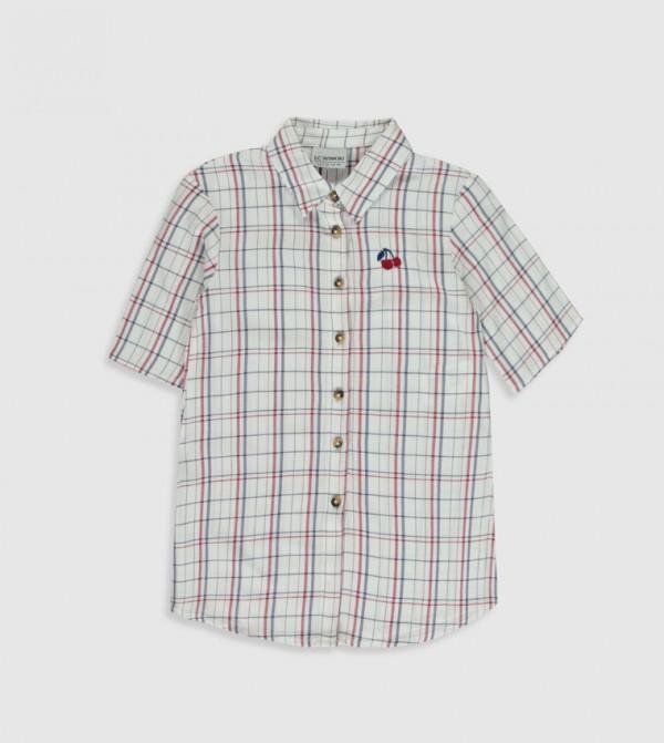 Woven Blouse Shirt Long Sleeves - Ecru Checked