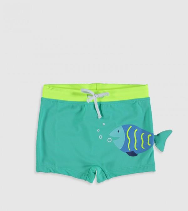 Plain Standard Thin Boxer Swim Shorts-Green