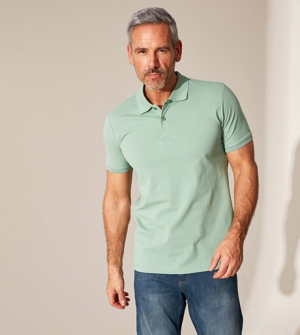 Polo Neck Basic Pique T-Shirt-Green