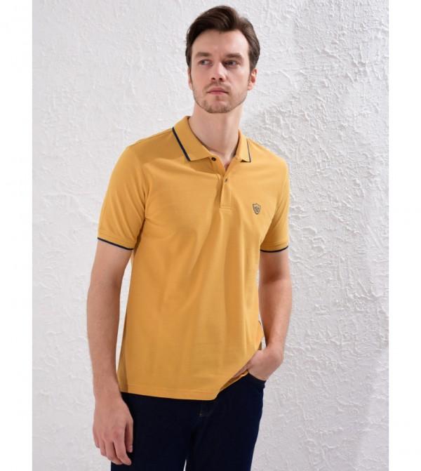 Plain Polo Neck Short Sleeve Standard Fit Pique T-Shirt-Yellow