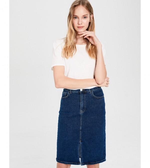 تنورة جينز منسوجة - منتصف روديو