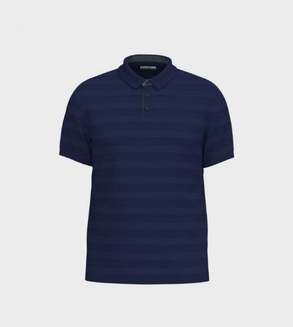 Male Plain Polo Neck Short Sleeve Slim Thin T-Shirt-Navy