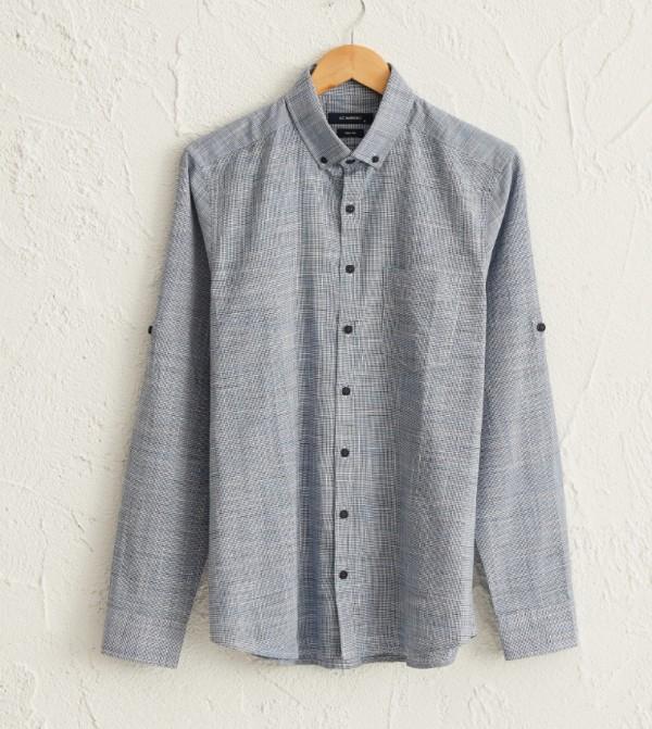Buttoned Shirt Collar Long Sleeve Slim Poplin Shirt-Blue