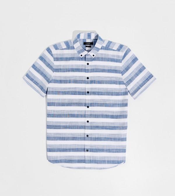 Male Striped Buttoned Shirt Collar Short Sleeve Standard Poplin Shirt-Navy