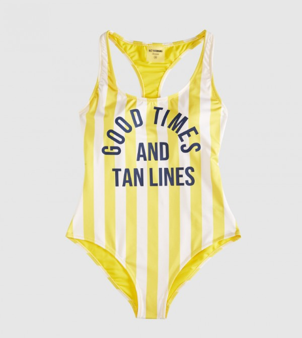 Striped Non Padded Racer Back Swimsuit-Yellow