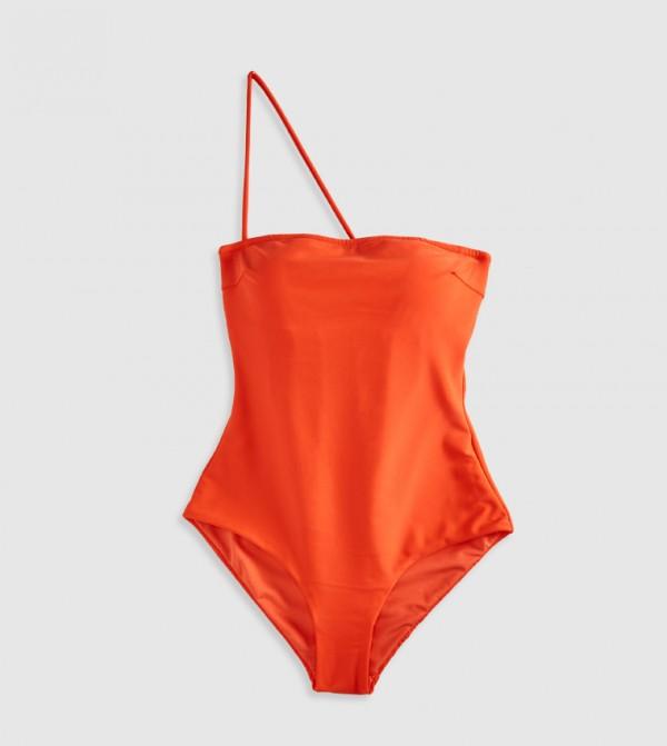 Plain Non Padded Strapless Swimsuit-Orange