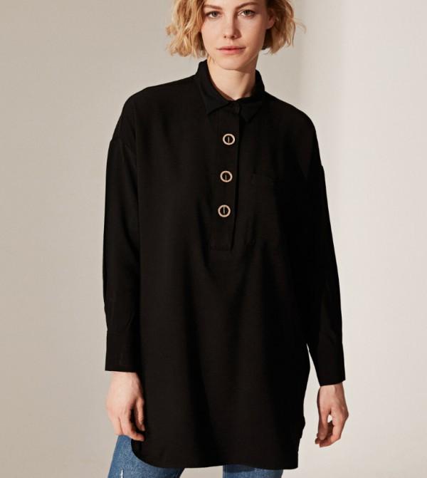 Woven Tunic Long Sleeves - New Black