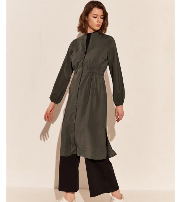 Woven Tunic Long Sleeves - Khaki