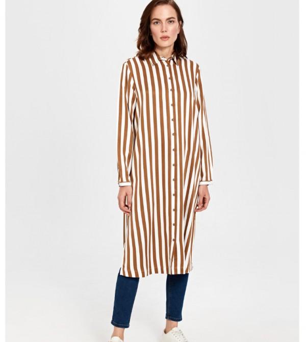 Woven Tunic Long Sleeves - Brown Printed