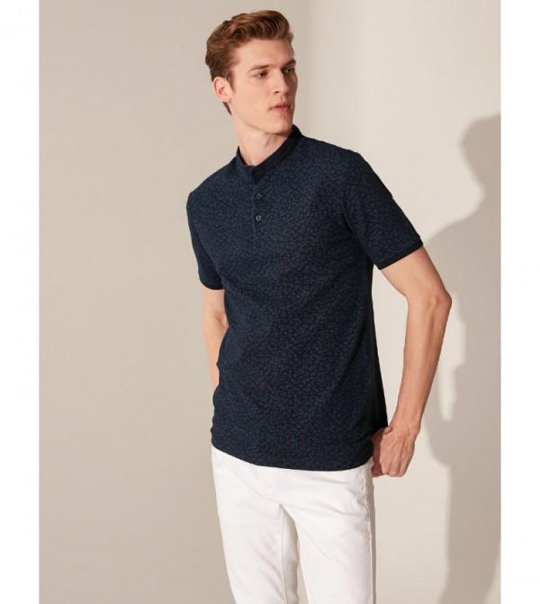 Judge Collar Patterned T-Shirt-Navy