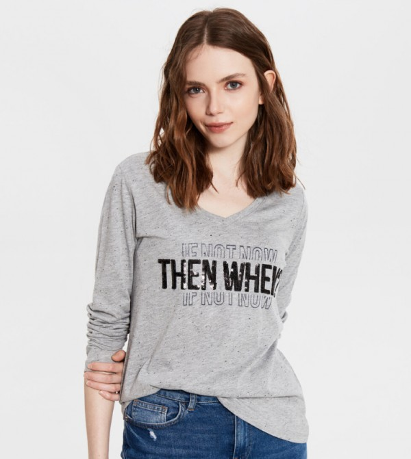 Jersey Body Tshirt Long Sleeves - Grey Melange