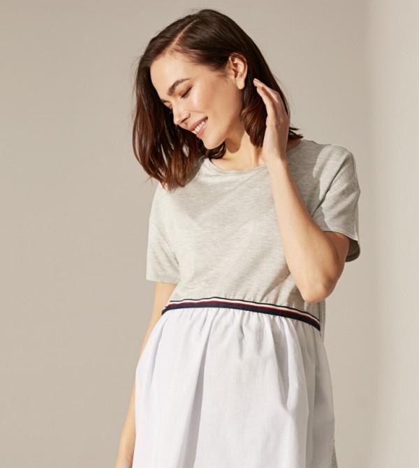 Jersey Tunic Short Sleeves - Grey Melange