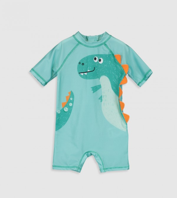 Plain Standard Thin Swim Shorts-Turquoise