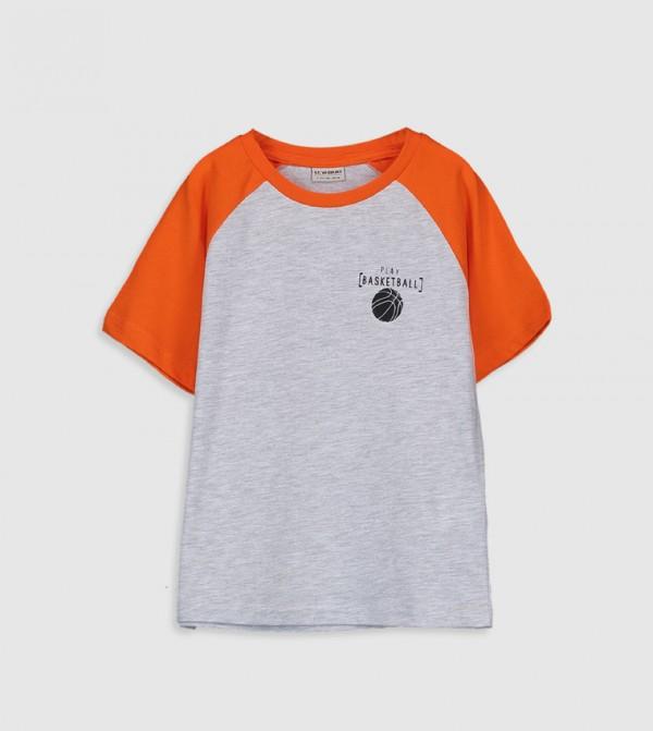 Printed Crew Neck Short Sleeve Standard Thin Single Jersey T-Shirt-Grey