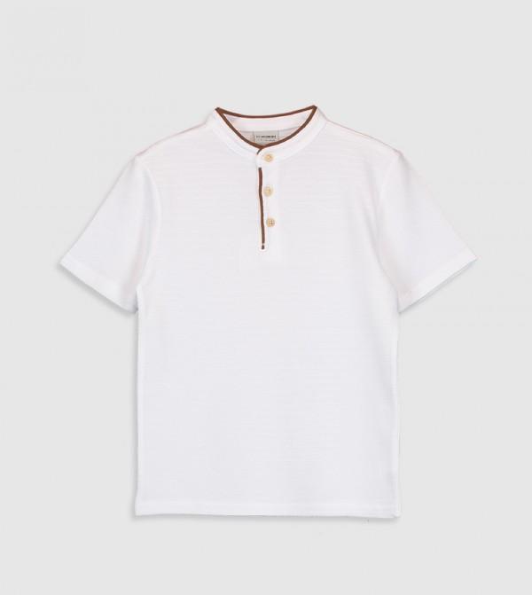 Plain Short Sleeve Thin Pique T-Shirt-White