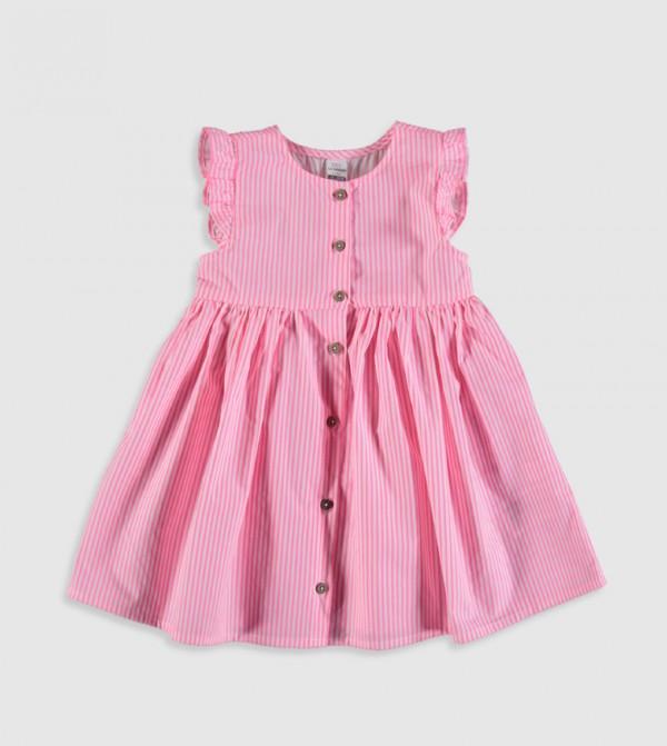 Woven Dress Short-Sleeved-Lpa-Red-Pink