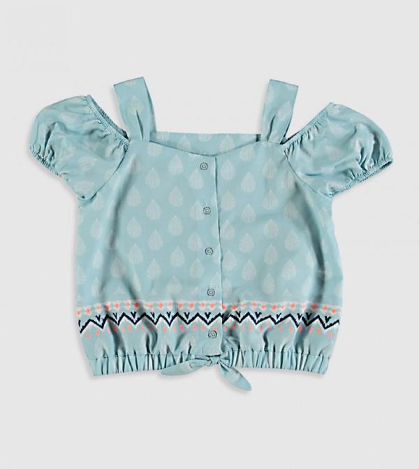 Printed V Neck Short Sleeve Thin Poplin Shirt-Blue