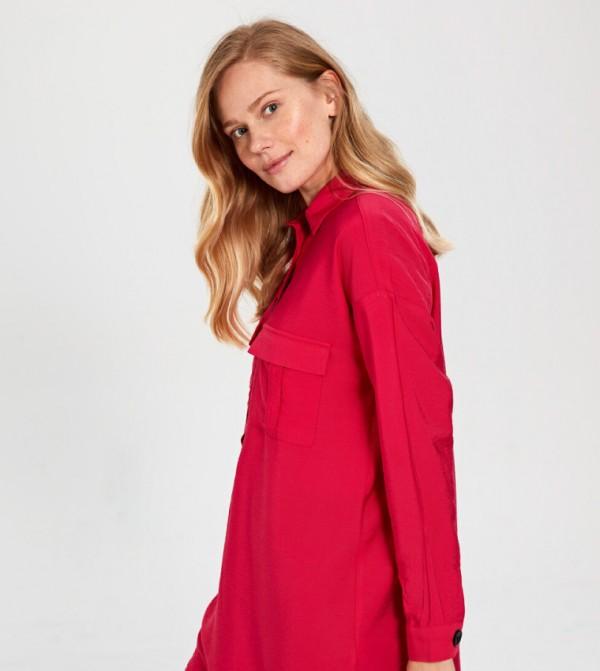 Woven Tunic Long Sleeves - Bright Plum