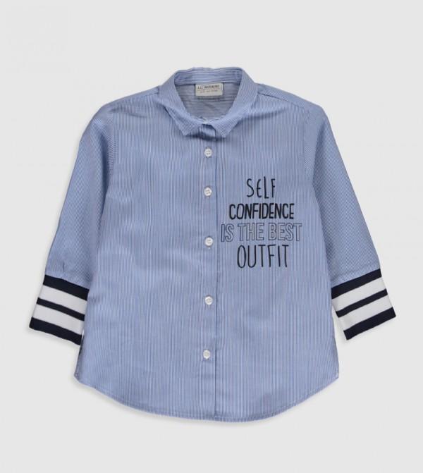 Woven Blouse Shirt Long Sleevesv - Blue Striped