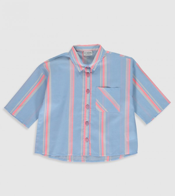 Woven Blouse Shirt Short Sleeves - Blue Striped