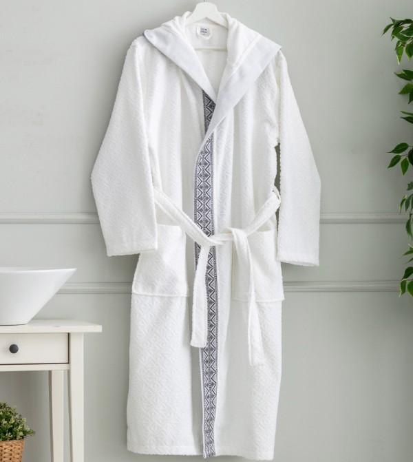 Erkek Hooded Short Bathrobe-White
