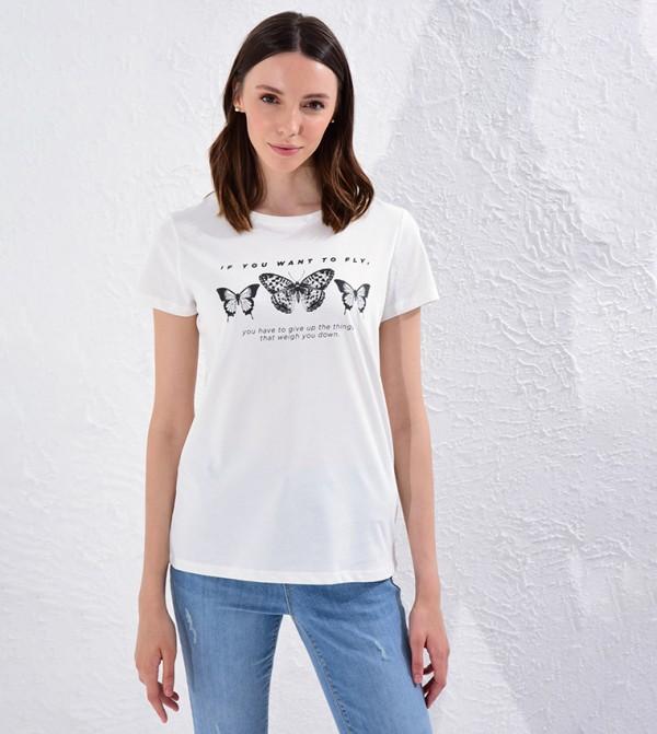 Printed Cotton T-Shirt-Cream