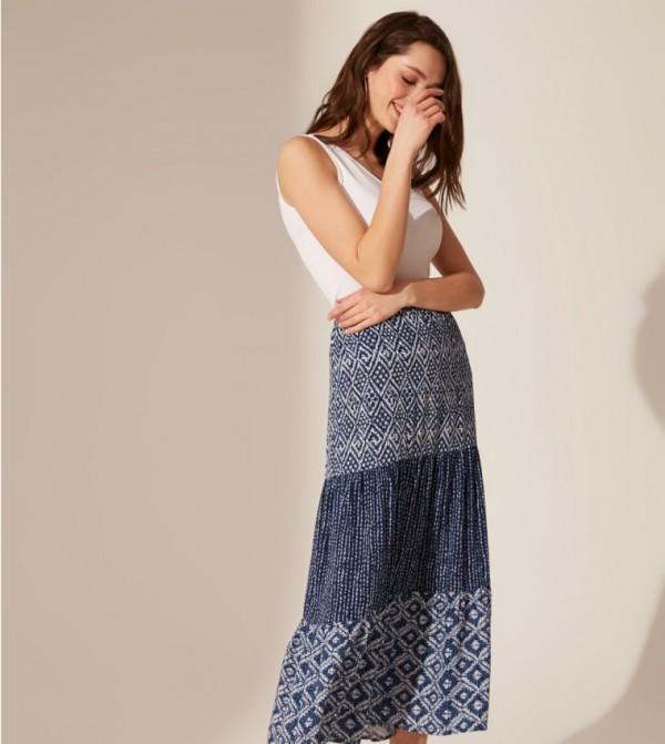 تنورة طويلة منسوجة - كحلي مطبوعة