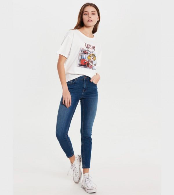 بنطلون جينز منسوج - أسود روديو متوسط