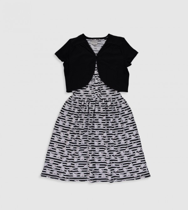Printed Short Sleeve Thin Single Jersey Dress-Black