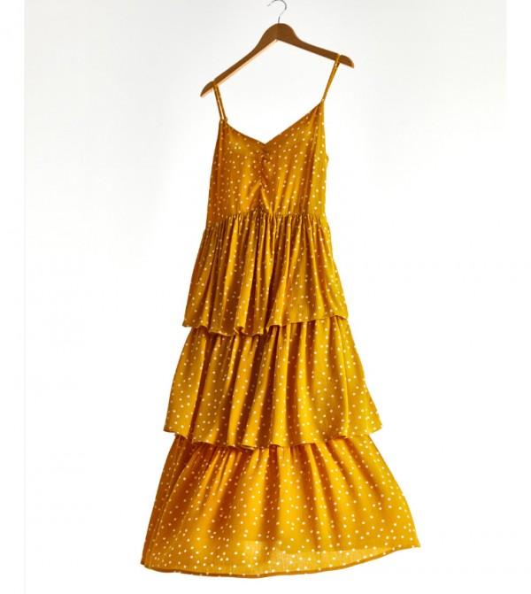 Woven Dress Short-Sleeved-Lug-Yellow-Yellow