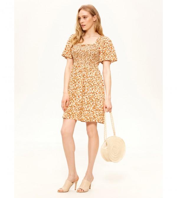 Floral Short Sleeve Slim Short Thin Fit&Flare Dress-Brown