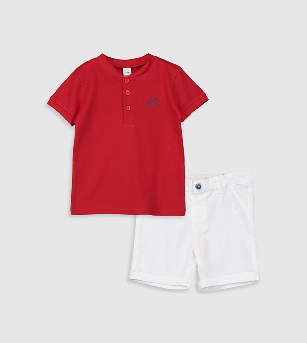 2-Pack T-Shirt And Shorts-Red