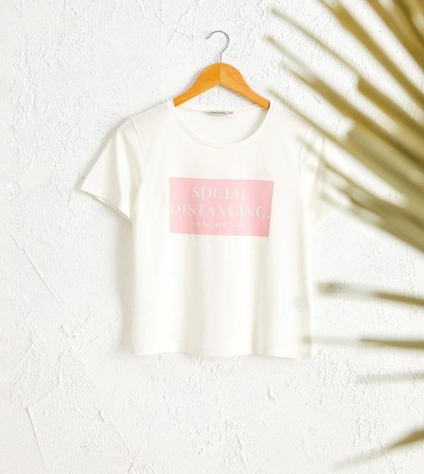 Letter Printed T-Shirt-Cream