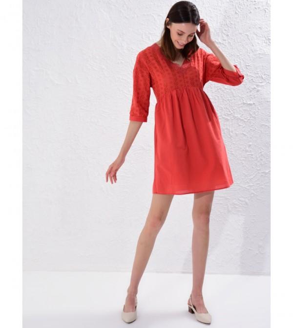 Plain V Neck Short Sleeve Standard Short Thin Shift Voile Dress-Orange