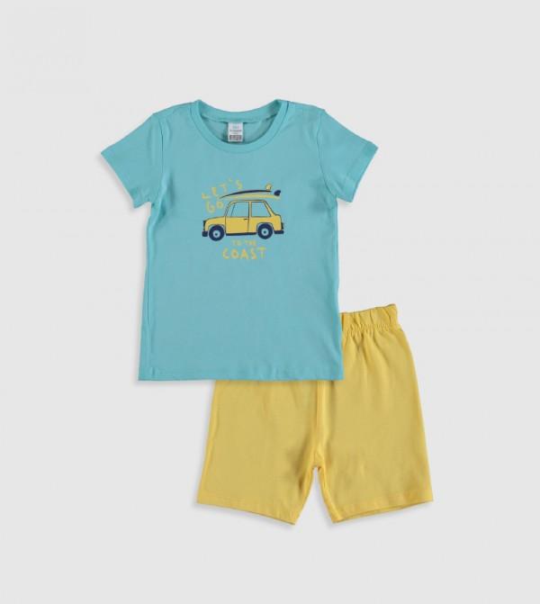 Plain Short Sleeve Standard Thin Single Jersey Set-Turquoise