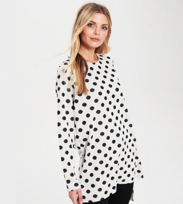 Jersey Body Tshirt Long Sleeves - Black Jacquard