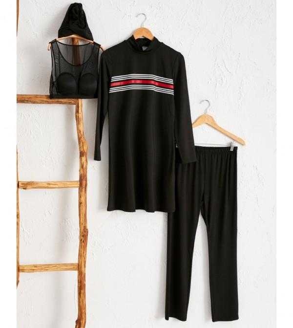 Printed Detachable Padding Modest Modest Swimsuit-Black
