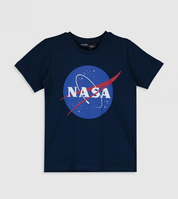 Printed Crew Neck Short Sleeve Standard Thin Single Jersey T-Shirt-Navy