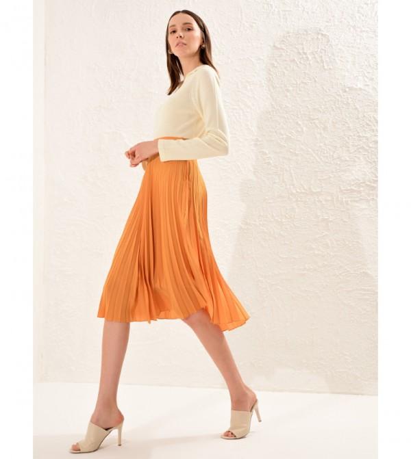Plain Standard Mid Length Thin Pleated Satin Skirt-Yellow