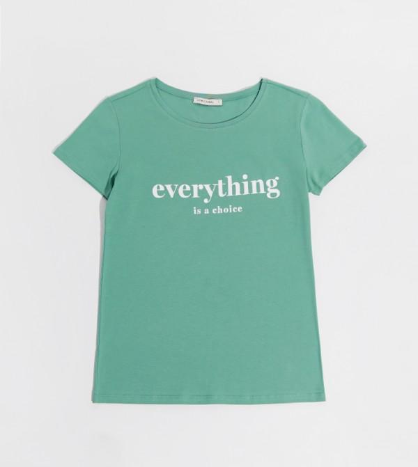 Printed Crew Neck Short Sleeve Standard Standard Medium Thickness Single Jersey T-Shirt-Green
