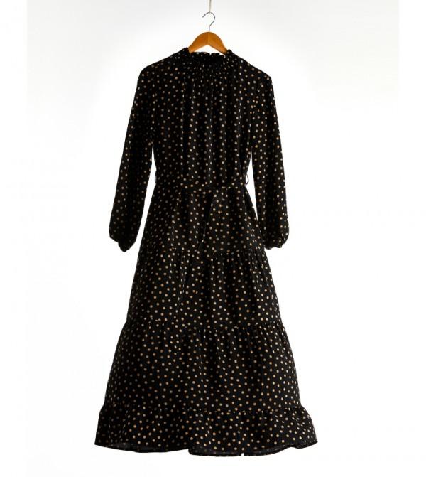 Printed Long Sleeve Thin Maxi Dress-Black