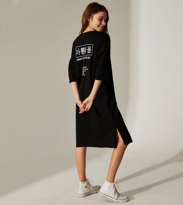Printed Short Sleeve Standard Fit Short T-Shirt Single Jersey Dress-New Black