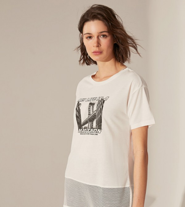 Jersey Body Tshirt Short Sleeves Active Sport - Ecru
