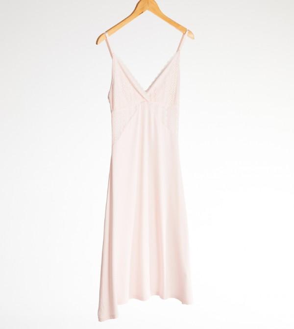 Plain Cami Top Standard Above Knee Thin Single Jersey Nightie-Pink