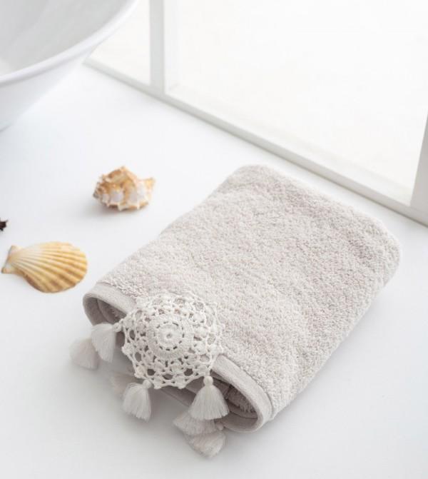 Erkek Terry Cloth Face Towel-Beige